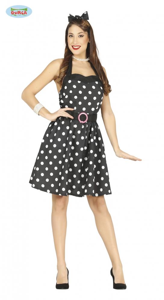 Černé šaty s puntíky - 50-tá léta velikost M  d02201929c