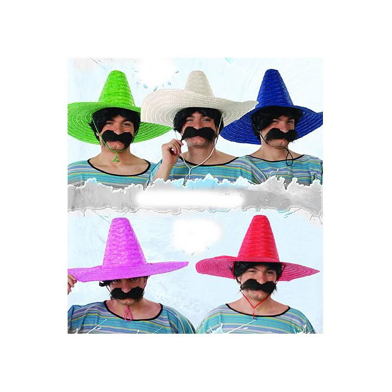 147151c5fd3 Mexický klobouk slaměný jednobarevný mix