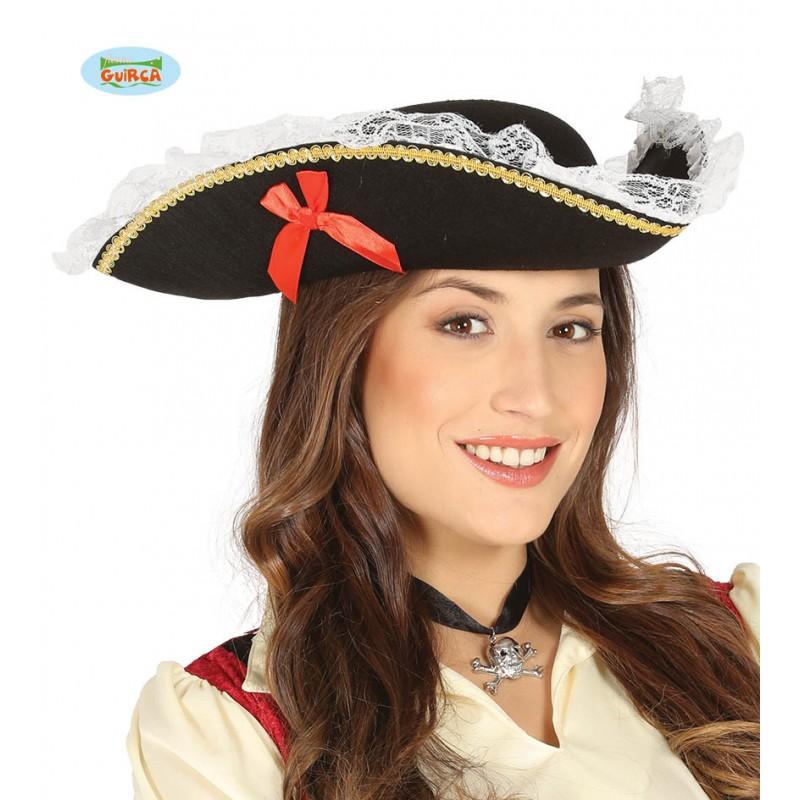 Pirátský kloouk třírohý s mašlí a krajkou e3fd721edc