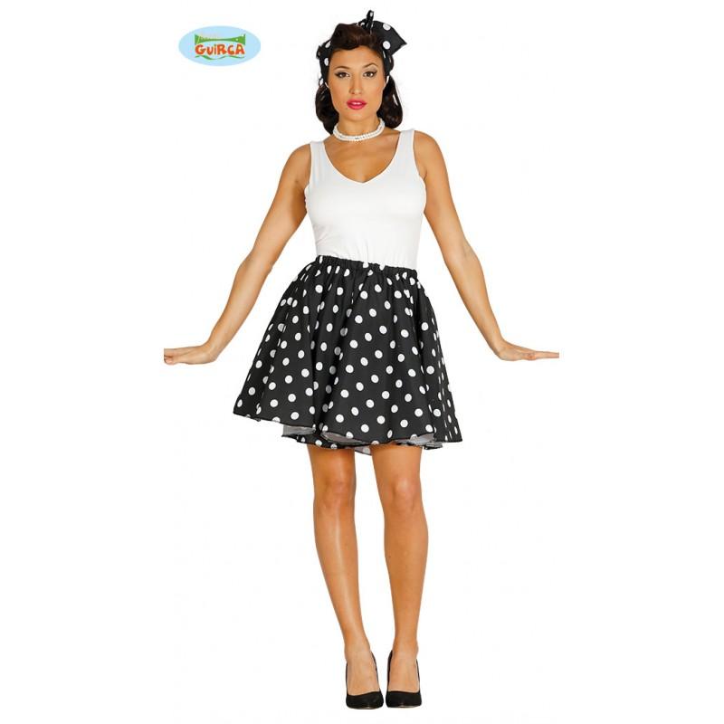1b1b032bc3e9 Retro sukně černobílá na gumu